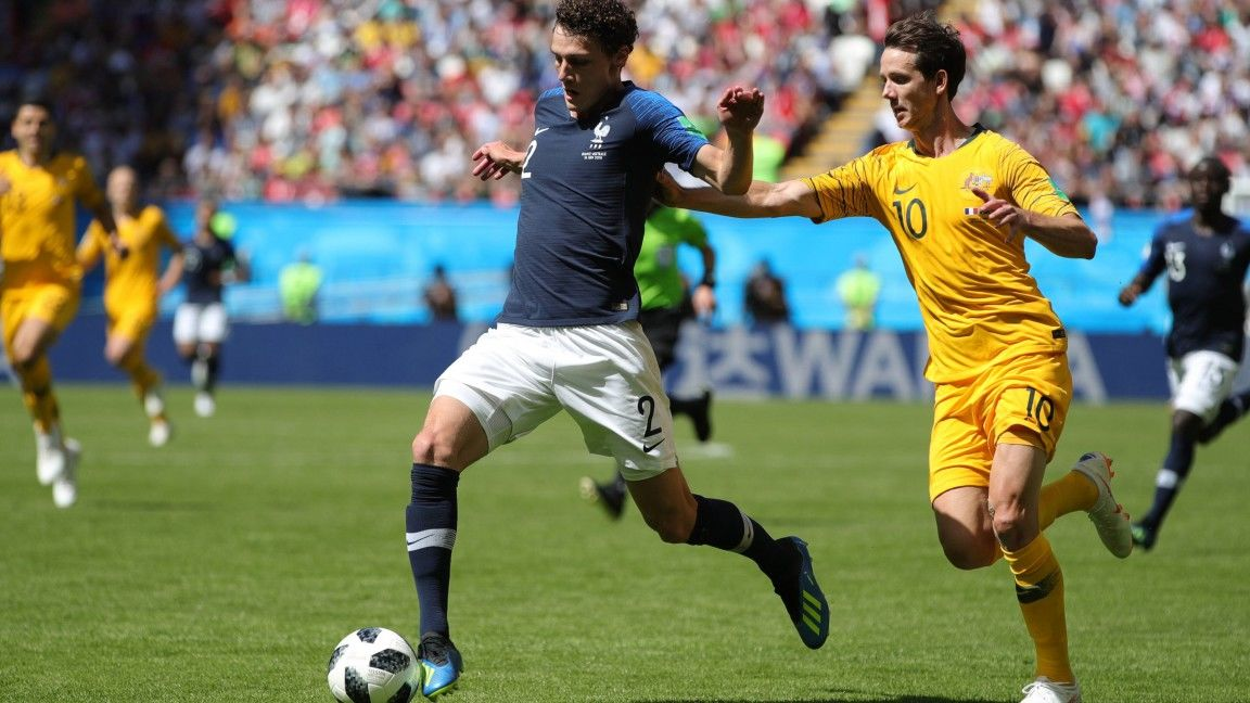 Benjamin Pavard celebrates successful World Cup debut