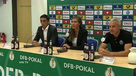 Die Pressekonferenz nach dem DFB-Pokalspiel in Rostock
