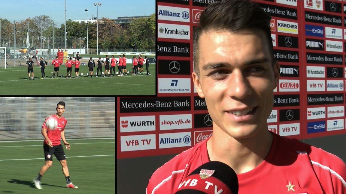 Vor dem VfBTV Mikrofon: Erik Thommy
