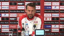 VfB Coach Markus Weinzierl vor dem Spiel gegen Frankfurt