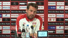 Die VfB Pressekonferenz vor dem Spiel in Leverkusen