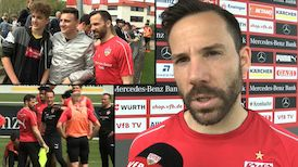 Gonzalo Castro vor dem VfB TV Mikrofon